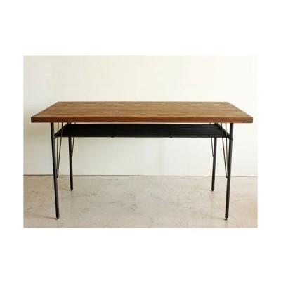 ケルト 140ダイニングテーブル / レトロ調ダイニングテーブル オイル仕上げ 棚付 ケルト 幅140cm