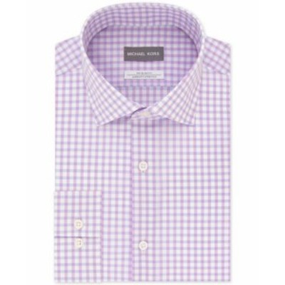 Michael Kors マイケルコルス ファッション ドレス Michael Kors Mens Purple White Size 18 Button Front Check Print Slim Fit