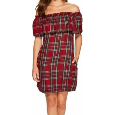 Sanctuary サンクチュアリ ファッション ドレス SANCTUARY NEW Red Womens XS Plaid Off Shoulder Stella Sheath Dress