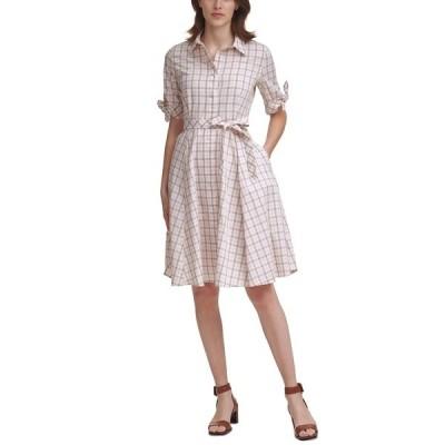 カルバンクライン ワンピース トップス レディース Plaid Belted Fit & Flare Dress Petal/khaki/ White