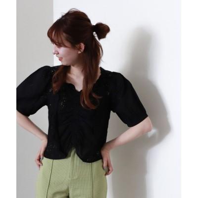 【アルシーヴ】 フロントギャザー綿刺繍プルオーバー レディース ブラック M archives