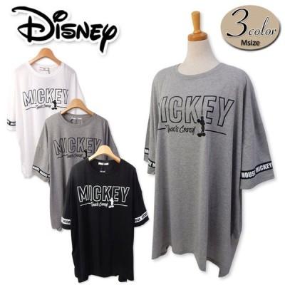 送料無料 レディース BIGTシャツ 半袖 Disney ディズニー ゆったり ミッキー テープ使い 婦人 メール便対応
