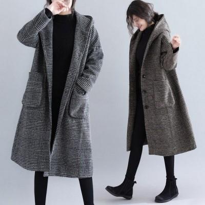 チェスターコート レディース アウター フード付き ロングコート 大きいサイズ 千鳥柄 大人 秋冬 40代 30代 20代