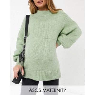 エイソス レディース ニット・セーター アウター ASOS Design Maternity oversized sweater with stripe stitch detail in green Green