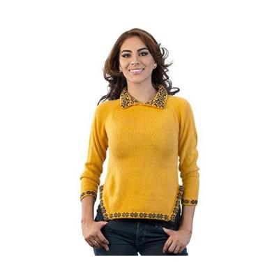 Intialpaca Women´s Collar Neck Yellow Alpaca Sweater Chao (Medium)並行輸入品 送料無