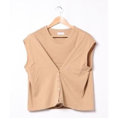 tシャツ Tシャツ フロントボタンカットプルオーバー