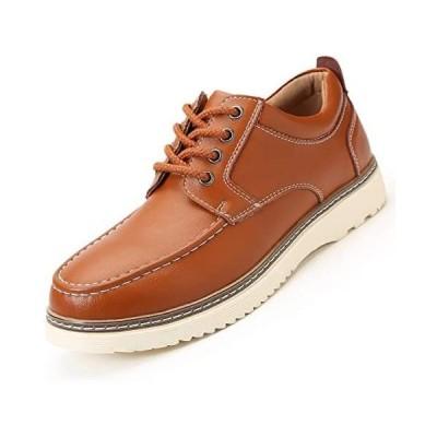 [NEARDREAM] デッキシューズ ワークシューズ メンズ 厚底 本革 茶色 革靴 カジュアルシューズ (ブラウン 25.5 cm 3E)