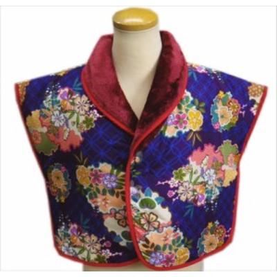 肩当て 半天 はんてん 女性用 和柄 リバーシブル 綿入 濃紫色地 雪輪古典花 フリー