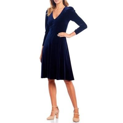 エリザジェイ レディース ワンピース トップス V-Neck Puff Shoulder Velvet A-Line Dress