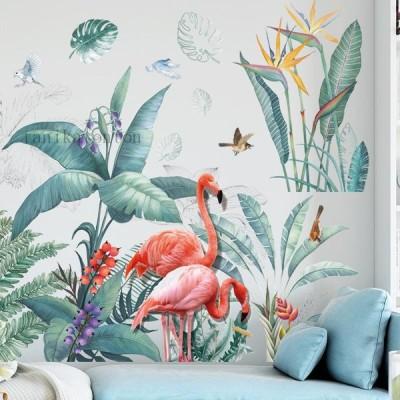 剥がして貼るウォールステッカー 北欧植物 フラミンゴ シール 応接間 寝部屋 飾り はがせる 自然