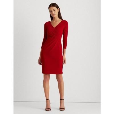 ラルフローレン ワンピース トップス レディース Petite 3/4-Sleeve Runched Jersey Dress Red