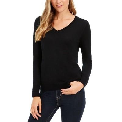 チャータークラブ ニット&セーター アウター レディース V-Neck Button-Sleeve Sweater Deep Black