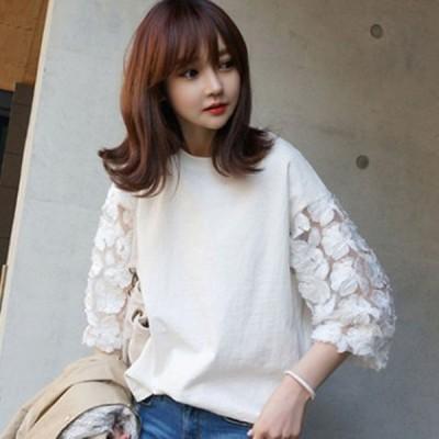 花柄刺繍のシャツ キュート 袖レース 涼しい 7部袖 可愛い シンプルなデザイン 大人可愛い シンプルカラー おしゃれ カジュアルコーデ