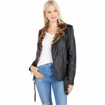 リーバイス Levis レディース レザージャケット アウター Oversized Faux Leather Moto w/ Faux Fur Lined Lapels Black/Cheetah