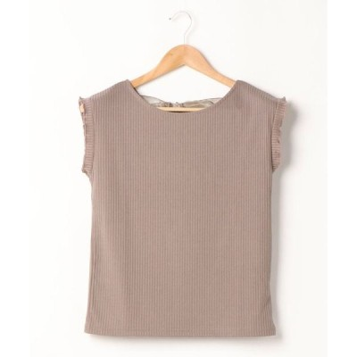 tシャツ Tシャツ バックリボンフレンチスリーブ/リブトップス