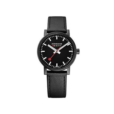 Mondaine SBB Stainless Steel Swiss-Quartz Watch with Leather Strap, Black (