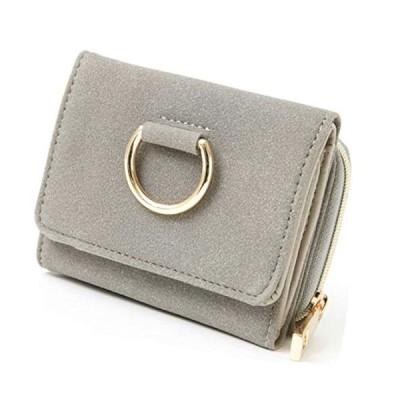 ミニ財布 リング金具 リング付き スウェード 三つ折り財布 レディース コンパクト スエードタッチ ゴールド 女