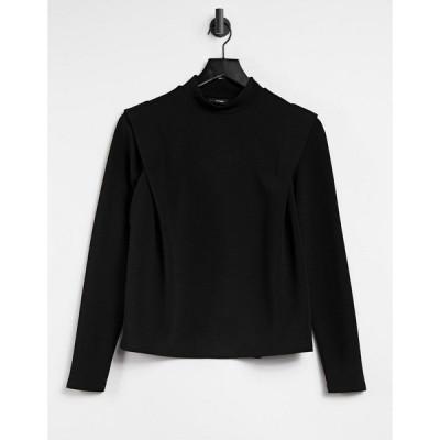 ヴェロモーダ レディース Tシャツ トップス Vero Moda padded top with shoulder detail in black Black
