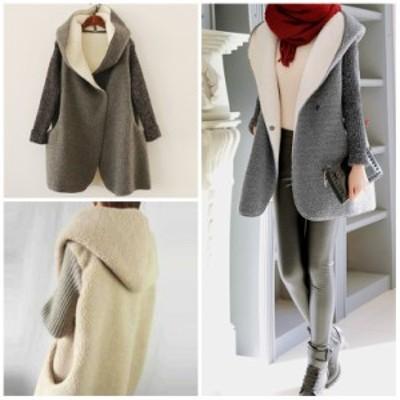 コート ボアコート レディース フード 切替 ニット 可愛い 裏起毛 ウールジャケット 暖かい アウター ゆったり ニットコート きちんと感