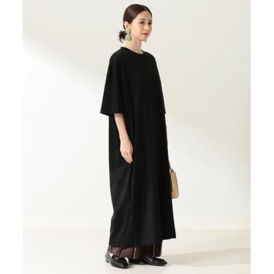 【ビームス ウィメン】 ATON / スビン オーバサイズ ドレス レディース ブラック 02 BEAMS WOMEN