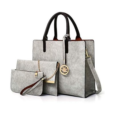 Women Fashion Handbags Tote Shoulder Bags Top Handle Satchel Purse Vegan Leather Handbags Set 3pc (Grey) 並行輸入品