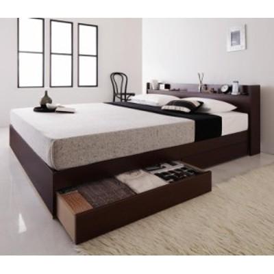 コンセント付き 収納ベッド 〔Else〕エルゼ 〔スタンダードボンネルコイルマットレス付き〕 クイーン(Q×1) 〔マットレス色〕ブラック