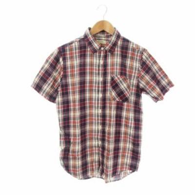 【中古】ブラウニー BROWNY シャツ レギュラーカラー 半袖 チェック L 紺 ネイビー /KI2 ☆ メンズ
