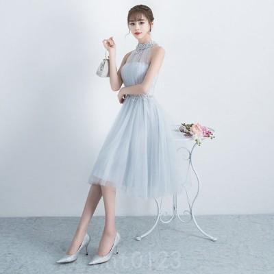 パーティードレス韓国20代30代花柄ホルターネックシフォンドレスワンピース膝丈ビーズレースAラインシースルーフレア大きいサイズ