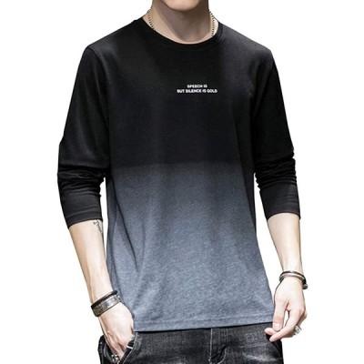 tシャツ メンズ 長袖 秋 冬 トップス カジュアル 丸襟 おしゃれ シンプル 綿 軽い 柔らかい スリムフィット グラデーションtシャツ(axd1-