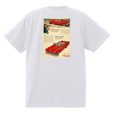 アドバタイジング Tシャツ 907 白 黒地へ変更可 フォード フェアレーン クラウンビクトリア 1955 1950's オールディーズ フィフティーズ