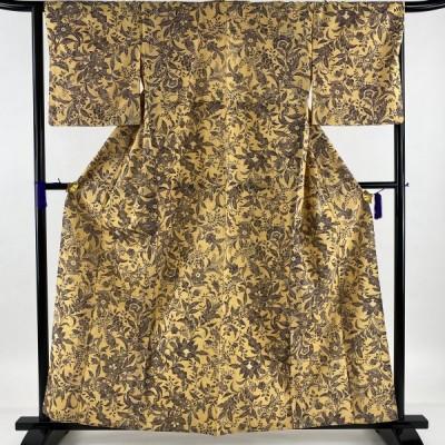 小紋 美品 逸品 牛首紬地 草花 薄オレンジ 単衣 身丈158.5cm 裄丈64.5cm M 正絹 中古