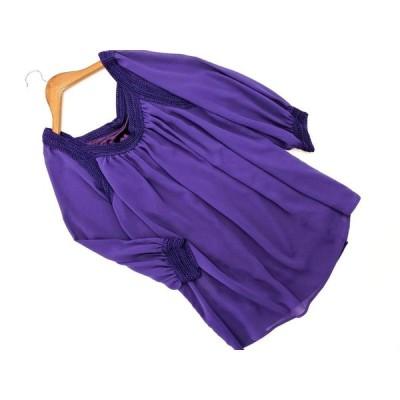 MICHEL KLEIN ミッシェルクラン シフォン ブラウス シャツ size38/紫 ◇■ ☆ aja9