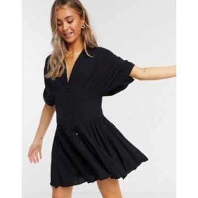 エイソス レディース ワンピース トップス ASOS DESIGN casual crinkle button through mini tea dress in black Black