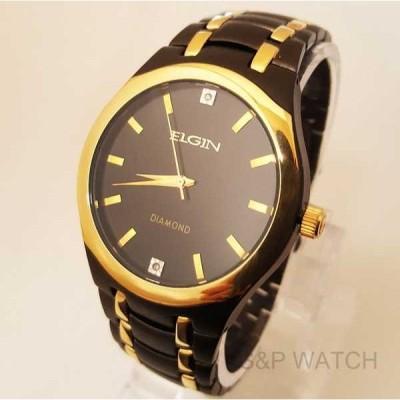 アクセサリー 腕時計 エルジン メンズ ラグジュアリー エレガント ブラック ゴールド クリスタル ダイヤモンド ドレス アナログ ラウンド ウォッチ