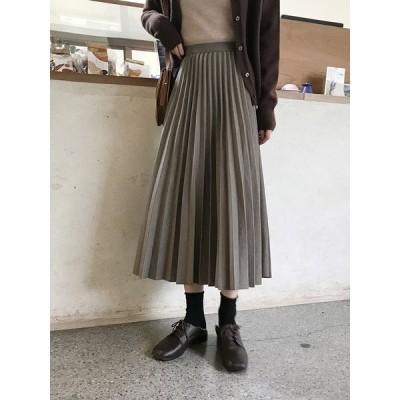 レディース ファッション 秋 冬 スカート プリーツスカート ミディアム丈 無地 上品 きれいめ 大人 シンプル トレンド おしゃれ