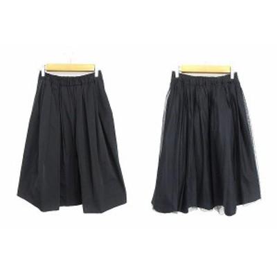 【中古】クローラ crolla スカート ギャザー ひざ丈 リバーシブル チュール 36 黒 ブラック /AAM35 レディース