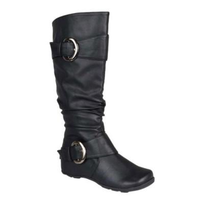 ジャーニーコレクション ブーツ&レインブーツ シューズ レディース Paris Extra Wide Calf Slouch Boot (Women's) Black Faux Leather