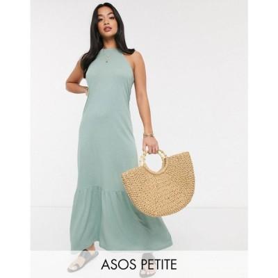 エイソス ASOS Petite レディース ワンピース マキシ丈 ワンピース・ドレス Asos Design Petite Square Neck Halter Maxi Dress With Pep Hem In Sage セージ