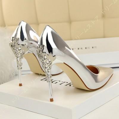 10cm パンプス ハイヒール ポインテッド ピンヒール エナメル メタリック付き 美脚 ソフトクッション 靴 レディース ヒール高め 歩きやすく 結婚式 痛くない