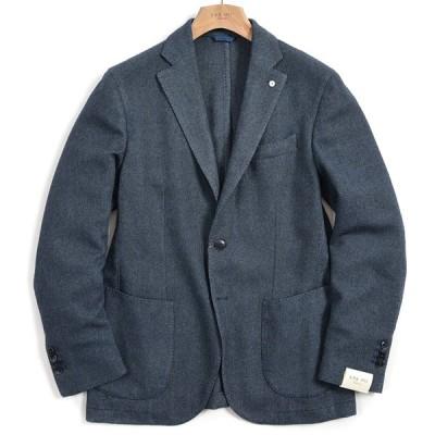 40%OFF L.B.M. 1911 テーラード ジャケット 2Bシングル ノッチドラペル 秋冬 カシミヤ ウール コットン バーズアイ ブルー