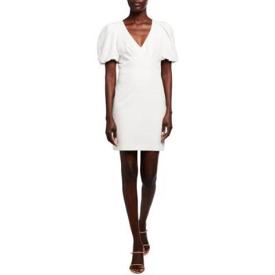 パーカー ブラック レディース ワンピース トップス Reilly Puff-Sleeve Mini Stretch Crepe Dress