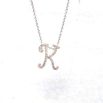 K18WG ダイヤモンド 0.13ct 【K】 イニシャル ネックレス
