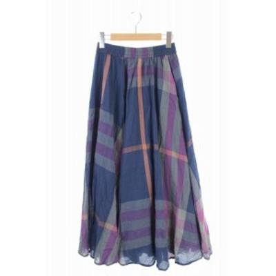 【中古】フリークスストア FREAKS STORE 19SS スカート ロング フレア チェック F 紺 紫 グレー /YS レディース
