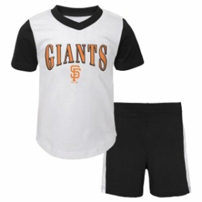 Outerstuff アウタースタッフ スポーツ用品  San Francisco Giants Preschool White/Black Little Hitter V-Neck T-Shirt