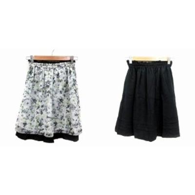 【中古】クイーンズコート QUEENS COURT フレアスカート ひざ丈 花柄 リバーシブル 0 白 ホワイト 黒 ブラック