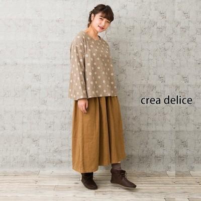 【セール】ドット刺繍ワイドブラウス(crea delice)【ナチュラル服】
