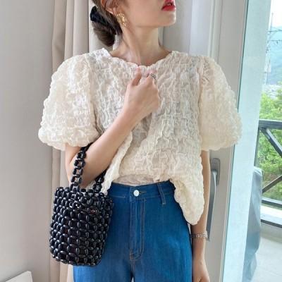 【送料無料】レディース ブラウス 半袖 しわ加工 韓国ファッション ディテール生地ブラウス