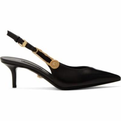 ヴェルサーチ Versace レディース ヒール メデューサ シューズ・靴 Black Medusa Safety Pin Heels Black/Gold