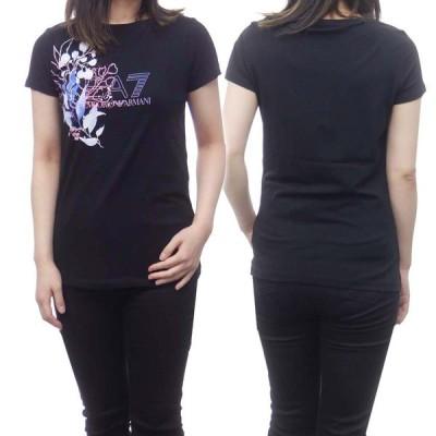 EMPORIO ARMANI エンポリオアルマーニ EA7 レディースクルーネックTシャツ 3KTT46 TJ12Z ブラック /2021春夏新作