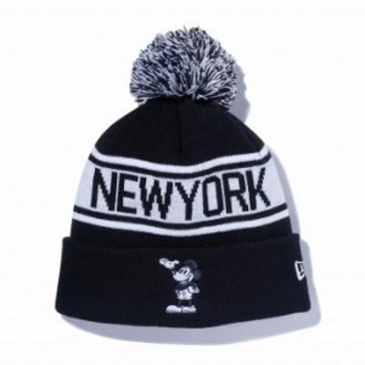 ニューエラ NEW ERA ポンポンニット ディズニー ブラック ホワイト ニットキャップ 帽子 日本正規品